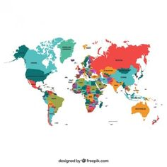 Political map of the world Free Vector Color Vector, Vector Design, Graphic Design, Flat World Map, Adobe Illustrator, Capas Kindle, Map Wallpaper, Free Maps, Map Vector