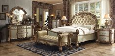 Vendome 4 Pcs Queen Bedroom Sets Description : Tracing back to the classical Baroque era, expressed with intent and conviction, our new interpretation of Vendome is donned in a crackled gold patina fi