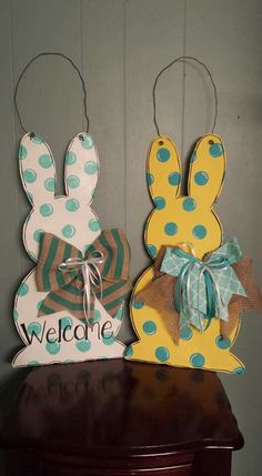 Easter bunny door hangers handpainted