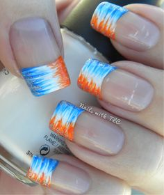 """""""Gradient Broncos"""" nail art by Tawnee L. Cordova    Follow me on Pinterest and like my Facebook page to see NEW designs every week!!!"""