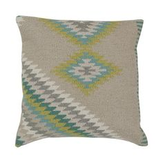 Surya LD034-1818D Kilim Decorative Pillow #home decor sale & deals Filler:Down Feather, Size:18-in x 18-in Kilim Decorative Pillow Add character to any room with this pillow accented with oyster gray and aqua. This pi...
