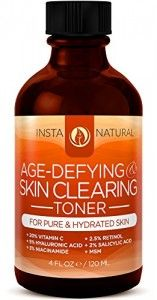 InstaNatural Vitamin C Toner - With Retinol, Salicylic Acid, Hyaluronic Acid & Niacinamide - Best Skin Clearing Face Toner & Moisturizer for Men & Women - Safe for Sensitive Skin on Face & Neck - 4 OZ