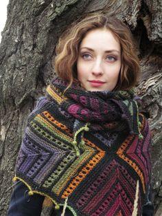 "Knit shawl ""Christmas night"" (knitted shawl, wool shawl, modular squares, knit patchwork, stained-glass shawl, hand knit shawl)"