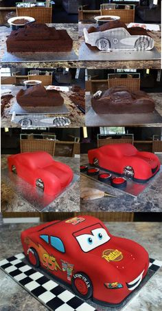 Mcqueen 3D car Cake by Verusca Walker