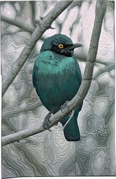 """""""Starling of Botswana"""" 21.75"""" x 33.5"""", art quilt by Barbara Barrick McKie.  Thread painted and free-motion quilted."""