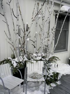 Birch Branches Pop Out Of Planters Winter Home Decor Porch House