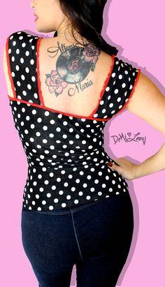 Demi Loon Black White Polka Dot Top Retro Pinup by ShopDemiLoon