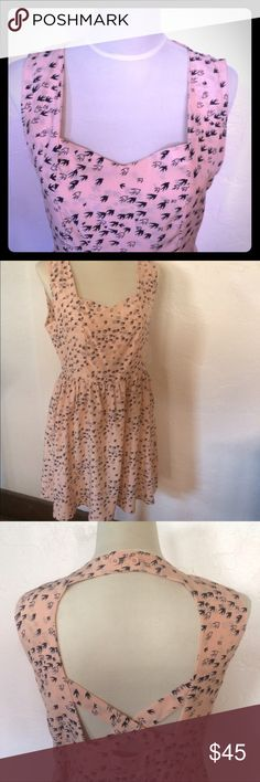 NWOT Pink/cream  bird print midi-dress NWOT, Unique details in the back, with button neck and cross at shoulder blades. Extremely soft fabric, made by No Name, purchased at Lucca fashion boutiques.  Just below the knees, sleeveless, with sweetheart bust. Never worn. No tags:( Nameless Dresses Midi