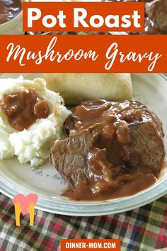 Beef Pot Roast with Mushroom Gravy is the ultimate comfort food that slow cooks in your crock-pot. Family friendly dinner that's perfect for a special occasion!