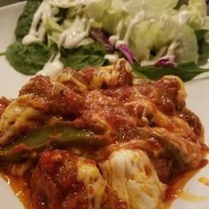 Sausage & Peppers in Raos sauce with melted mozzarella and a salad. Really really delish!  We cooked it in a skillet but this would also make a great crock pot meal for the future! #keto #ketolife #ketodiet #ketogenic #ketowayoflife #ketocommunity #ketofamily #ketofood #ketosis #ketolove #ketoworks #ketodinner #ketomeal #ketomeals #ketojourney #ketogenicdiet #ketogenicdieting #ketogenicdieter #keepinitketo #ketodieter #ohhelloketo - Inspirational and Motivational Ketogenic Diet Pins - Eat…