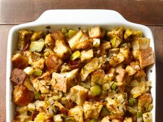 KENDEL'S STUFFING RECIPE:  olive oil 1 cup yellow onion 1 cup shallots 2 cups celery dash sald and pepper  1tbs fresh basil, sage, and oregano  3 cups vegetable broth 2 eggs 16 cups week-old french loaves  Food network 50 recipes traditional follow.