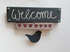 WELCOME SIGN, Gift ideas, Door hanger, Wood signs, Decoration with birds, Decoration with tulips, Wooden door sign, Made in Europe.