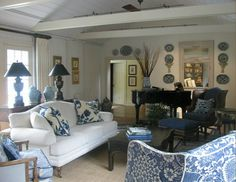 More formal furnishings in a cottage setting, Blue and White