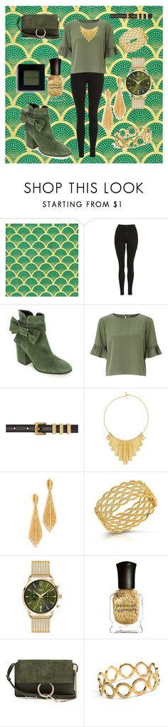 """Gold and Green"" by cecilvenekamp ❤ liked on Polyvore featuring Topshop, Summit, Miss Selfridge, Yves Saint Laurent, BERRICLE, Ben-Amun, Roberto Coin, Henry London, Deborah Lippmann and Chloé"