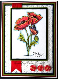 Simple card using Chocolate Baroque ' pretty poppies ' stamp set and inktense pencils.