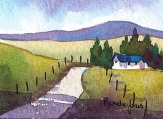 ACEO Original watercolour Country road in The Brecon Beacons Wales:  Size 3 1/2 ins x 2 1/2 ins