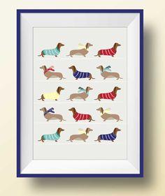 Wiener Dog Print, Weenies in Sweaters and Scarves, Wiener Dogs, Dachshund Dog Print, Dachshund Art