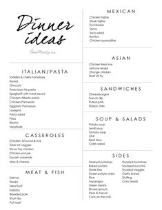 Dinner idea list and menu - Expolore the best and the special ideas about Budget meal planning Planning Menu, Family Meal Planning, Planning Budget, Family Meals, Meal Planning Printable, Weekly Meal Plan Family, Monthly Meal Planning, Spaghetti Meat Sauce, Meal Planner