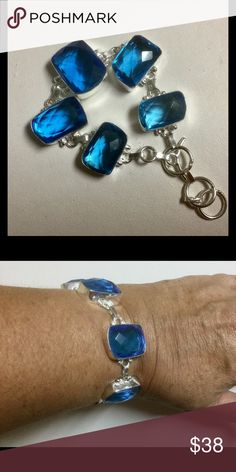 "Eye-catching  Iolate Bracelet Brilliant Blue Iolite approx. 15 x20 mm stones. Sterling Silver Alloy Bracelet. 7 to 8 1/4"" . Jewelry Bracelets"