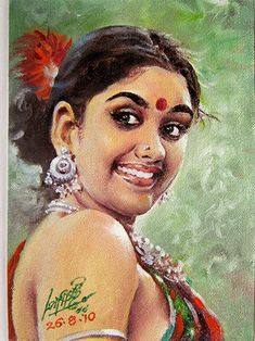 Oviyar Maruthi: Figurative 1 That smile seems spontaneous & infectious. Indian Women Painting, Indian Art Paintings, Indian Artist, Ravivarma Paintings, Indian Artwork, Amazing Paintings, Woman Painting, Figure Painting, Sexy Painting