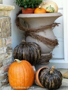 Porch fall decor love the planter colour by candace