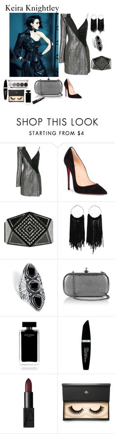 """""""Keira Knightley Style"""" by rebeccadavisblogger ❤ liked on Polyvore featuring Thierry Mugler, Christian Louboutin, Chanel, Palm Beach Jewelry, Vivienne Westwood, Narciso Rodriguez, Max Factor and Lash Star Beauty"""