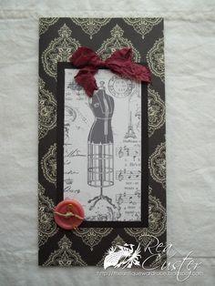Vintage dress form collage card.