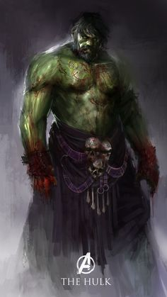 Hulk the bloodied titan by theDURRRRIAN green ogre zombie undead demon devil possessed bloody monster beast creature animal | Create your own roleplaying game material w/ RPG Bard: www.rpgbard.com | Writing inspiration for Dungeons and Dragons DND D&D Pathfinder PFRPG Warhammer 40k Star Wars Shadowrun Call of Cthulhu Lord of the Rings LoTR + d20 fantasy science fiction scifi horror design | Not Trusty Sword art: click artwork for source