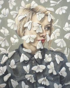 Flutter Pop Surrealist painting -   Portrait of a woman with moths flying around her head. Fine art surrealism print by Heather Buchanan.