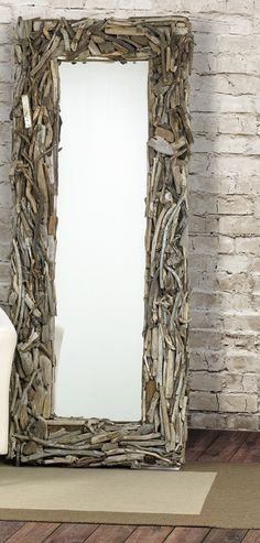 "driftwood mirror- I have an over the door mirror in the bedroom that I would love to ""prettify"" with something. Maybe make a TON of paper roses/flowers in different colors, or utilize my scrap papers ( I have a lot) and make sort of a collage with them...hmmm..."