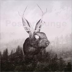 "Poster ""the escape"" by Peg Essert - #nature #rabbit #forest #digitaldesign #doubleexposure #foggy"