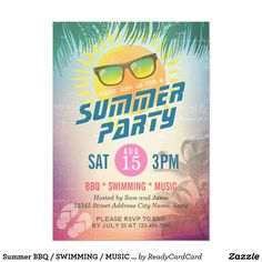 Summer BBQ / SWIMMING / MUSIC Party Invitation Summer Wedding / BBQ / SWIMMING / MUSIC Party Invitation Cards. A Perfect Design for your Summer Party! All text style, colors, sizes can be modified to fit your needs.