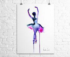Ballerina Dancer Art Print Watercolor by WatercolorPrint on Etsy, $30.00