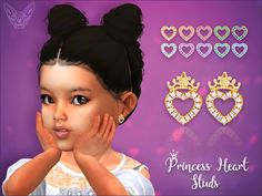 The Sims 4 Princess Heart Studs For Toddlers Sims 4 Toddler Clothes, Sims 4 Cc Kids Clothing, Sims 4 Mods Clothes, Toddler Outfits, Los Sims 4 Mods, Sims 4 Game Mods, Sims 4 Cc Eyes, Sims Cc, Sims 4 Piercings