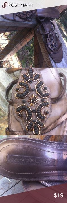 Bandolinos  low heeled sandals Bandolinos low heeled slip on brown leather sandals,bling beaded detail on front, soooo cute and easy for jeans or dress up , a 'Kristens Find' posh on girlfriend;) Bandolino Shoes Sandals