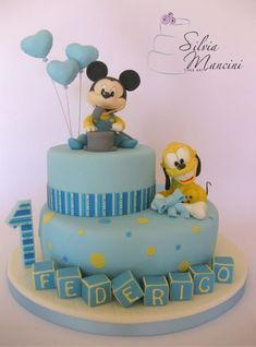 Baby Mickey Mouse and his friend - Cake by Silvia Mancini Cake Art Baby Mickey Mouse Cake, Festa Mickey Baby, Bolo Mickey, Mickey Mouse Baby Shower, Mickey Cakes, Mickey Party, Mickey 1st Birthdays, Mickey Mouse 1st Birthday, Baby Birthday Cakes