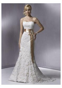 wedding dress with lace sash - Google Search