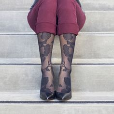 Item Number: Item Name: RejuvaHealth mmHg Sheer Floral Knee High Throughout history, flowers have been used to represent beauty. Aphrodite, the mythological goddess of love & beauty, was even smyboliz Opaque Stockings, Knee High Stockings, Floral Tights, Compression Stockings, Retro Fashion, Floral Fashion, High Knees, Comfortable Fashion, Fashion Addict