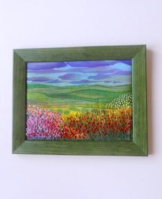 Colorful Landscape with embroidered flowers by natynatyva on Etsy