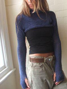 Blue Sweater / Blue cropped iLE AiYE sweater by ileaiye on Etsy, $105.00