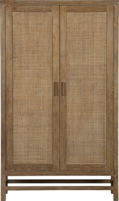 Shop Blake Grey Wash Two-Door Cabinet. Washed in soft grey and accented with antique brass pulls, the cabinet has double doors that open to one fixed and two adjustable shelves to accommodate dinnerware, office supplies or electronics. Cane Furniture, Rattan Furniture, Furniture Design, Blake Grey, Wardrobe Doors, Bedroom Storage, Crate And Barrel, Jute, Home Decor Ideas