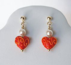 coral earrings. xo