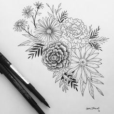 Floral tattoo. Contact me for custom drawings clairestokes93@yahoo.com Or check out my Instagram clairestewart25. Plus my etsy is where it's at! link to my store: https://www.etsy.com/listing/269477486/custom-drawingtattoo-design