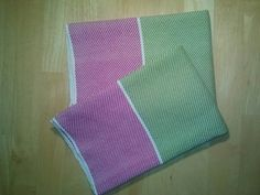 Set of two handwoven cotton twill dish towels.  hot pink, lime green and white.