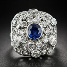 Sapphire and Diamond Cocktail Ring - Antique & Vintage Gemstone Rings - Shop for Jewelry
