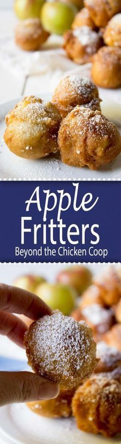 Quick and easy apple fritters with chunks of apples (easy apple desserts snacks ideas) Apple Dessert Recipes, Donut Recipes, Fruit Recipes, Apple Recipes, Easy Desserts, Fall Recipes, Sweet Recipes, Delicious Desserts, Breakfast Recipes