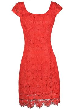 #Lily Boutique - #Lily Boutique Macrame Lace Capsleeve Pencil Dress in Red Orange - AdoreWe.com