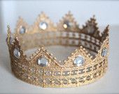 Regal Gold Lace Crown for Boy or Girl - Perfect Newborn Photo Prop. $9.95, via Etsy.