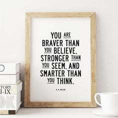 You are braver than you believe http://www.amazon.com/dp/B016N1ORK8  motivationmonday print inspirational black white poster motivational quote inspiring gratitude word art bedroom beauty happiness success motivate inspire
