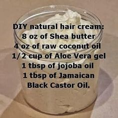 DIY natural hair cream (shea butter, coconut oil,aloe vera gel & jojoba oil, castor) Hair 16 Brilliant Summer Hair Hacks You Never Knew You Needed Natural Hair Cream, Pelo Natural, Natural Hair Tips, Natural Hair Journey, Going Natural, Natural Hair Recipes, Natural Beauty, Black Natural Hair Care, Natural Hair Mask